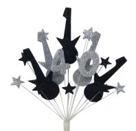 Rock guitar 40th birthday cake topper decoration in black and silver - free postage